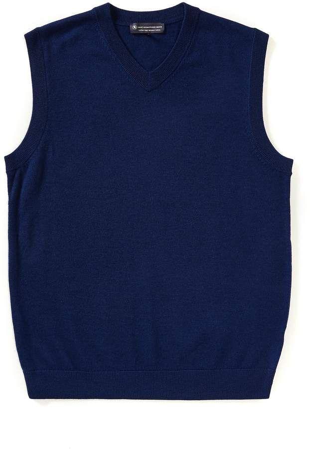 Hart Schaffner Marx Big Tall Merino Wool V Neck Sweater Vest