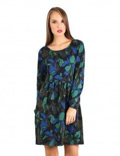 Scoop neck abstract skater dress - Green & Multicolour