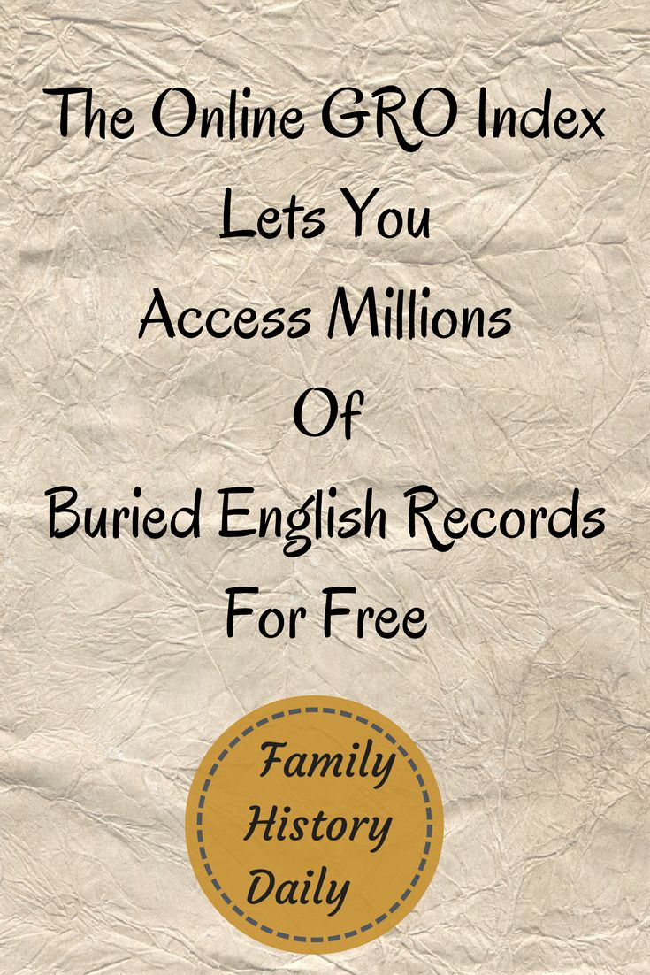 Free Genealogy Resources: Research your ancestors from England and Wales for free with the GRO Index online.