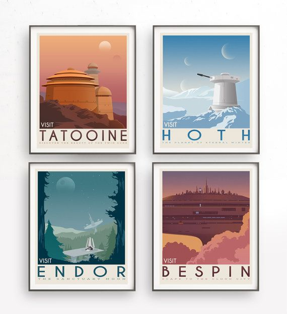 Star Wars set of 4 travel poster vintage. Starwars planet illustration. Sci fi vintage print. Luke skywalker. Two mon landscape. Room decor