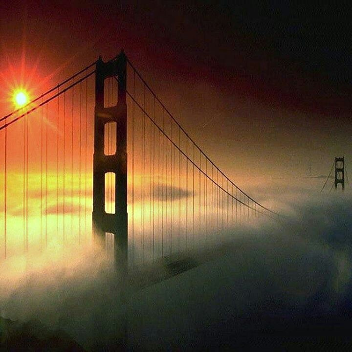 Golden Gate Foggy Sunset San Fransico California