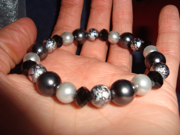 Grey Tonal Beaded Bracelet