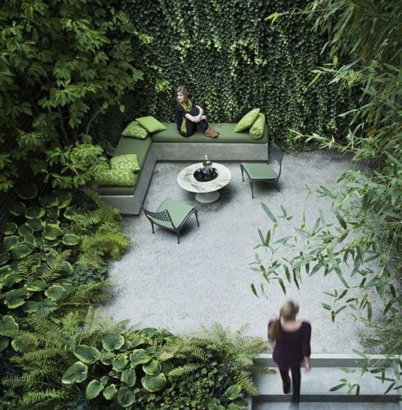 Small Urban Garden with Lots  of Green by Rees Roberts + Partners LLC
