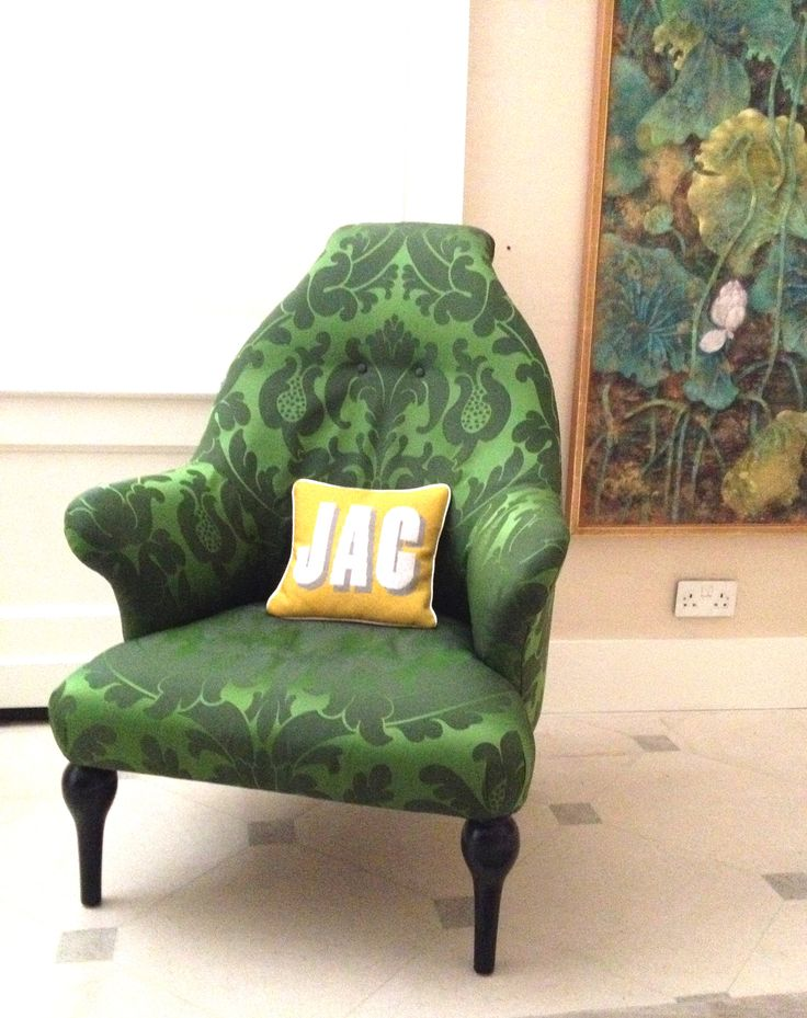 'JAC' on a lovely chair! designed by www.madinengland.com