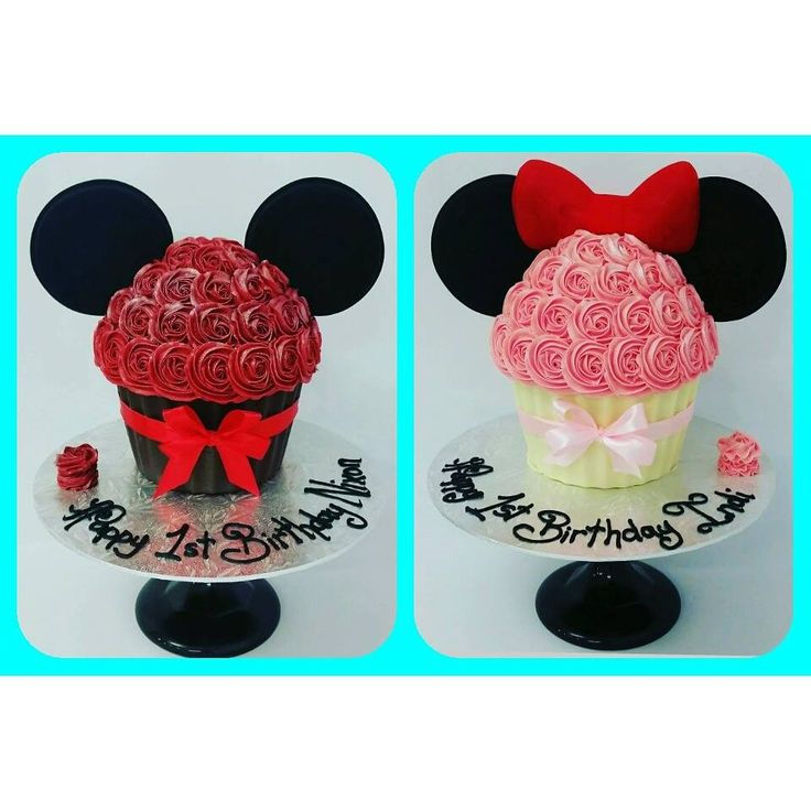 Mickey and Minnie Giant Cupcakes