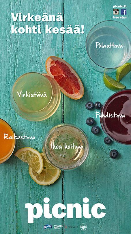 Virkeänä kohti kesää!Nobe aloe vera juomat. Picnic, E-taso ja 2.krs.