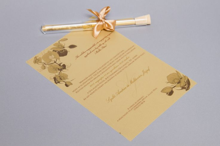 Arany kémcsöves esküvői meghívó _ gold message in bottle wedding invitation