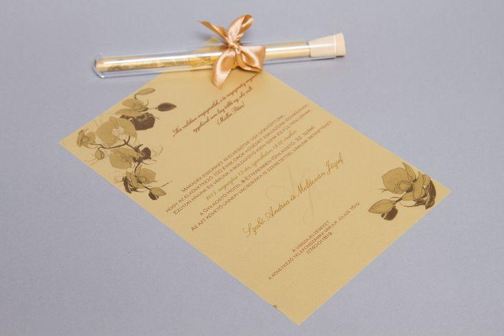 Arany kémcsöves esküvői meghívó _ gold message in bottle wedding invitation