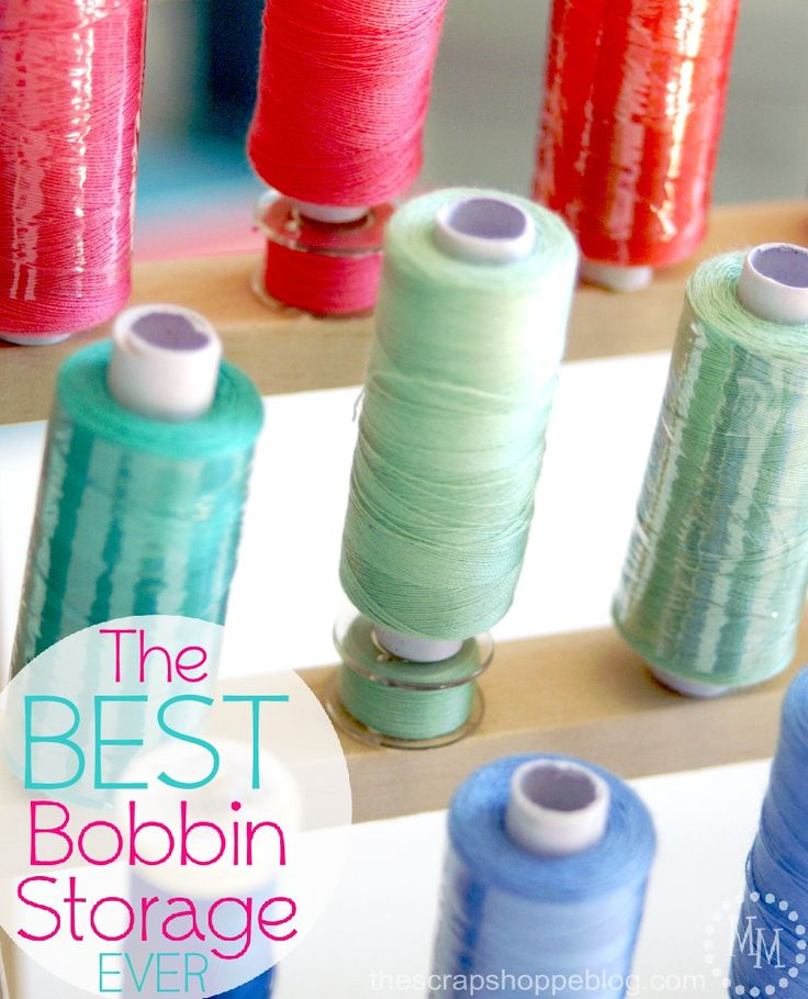 """You guys!! Do you ever have an idea and think it is sheer genius? Then you think about it more and think maybe it's more of a """"duh"""" moment. That is so me with this bobbin storage idea! Ireally wanted to store my bobbins WITH the spools of thread they go with. I purchased one [...]"""