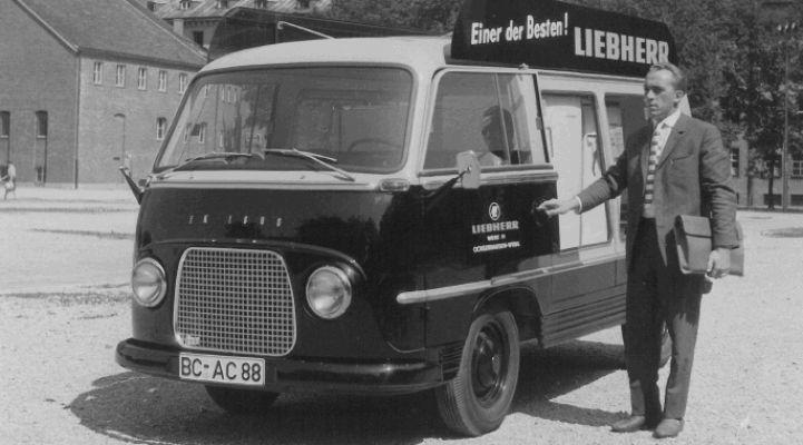Liebherr-Bus, Liebherr, Bus, Vertrieb, Geschichte, Deutschland, Kühlschrank, Mercedes Benz L 319, Kleintransporter, Modell, Marketing, Historie, Fahrendes Schaufenster