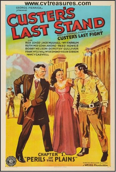 "Western Movie Posters  ""Custer's Last Stand"" 1936 three sheet original vintage film poster.  See it at www.cvtreasures.com , Conway's Vintage Treasures   Linen Backed   .  $875"