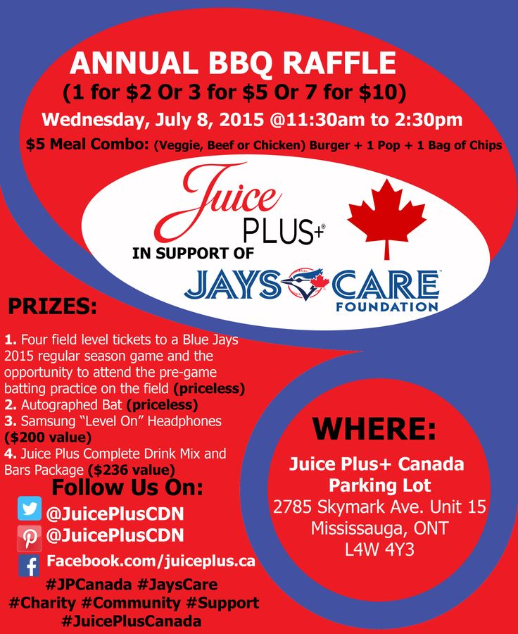 Wednesday, July 8 from 11:30am-2:30pm Juice Plus+ Canada will be having their annual Jays Care BBQ! Be sure to come out! ‪#‎BBQ‬ ‪#‎JaysCare‬ ‪#‎JPCanada‬ ‪#‎Charity‬ ‪#‎Support‬
