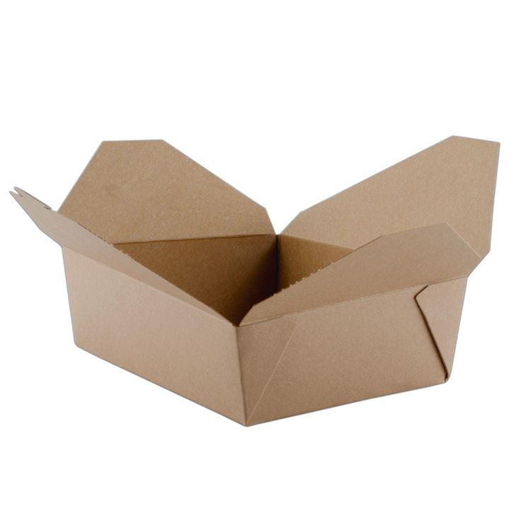 "8"" x 6"" x 3"" ChampPak Retro Kraft Paper Take-Out Container – 50 / Pack $11.99"