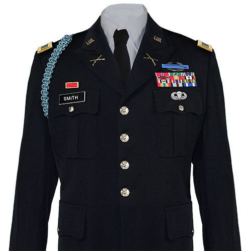 United States Army Service Uniform (ASU) Male Dress Coat - Officer • Stain resistant treated material • Button Strip with removable buttons • Set of Butto...