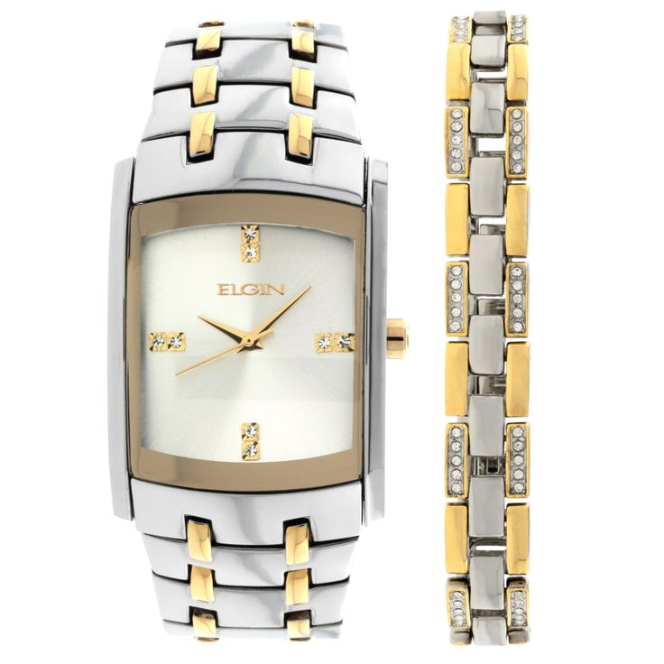Elgin Men S Crystal Accent Two Tone Watch And Bracelet Set Twice
