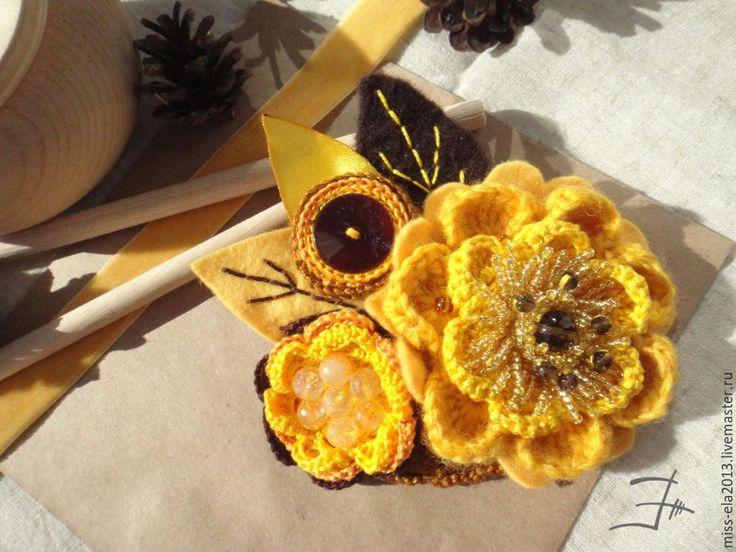 """Купить Брошь """"осеннее солнце"""" - желтый, брошь, желтая брошь, брошьс цитрином, брошь с раухтопозам"""