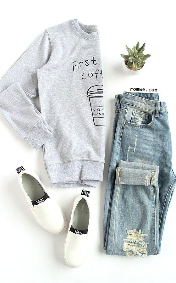 Coffee Cup Letters Print Sweatshirt
