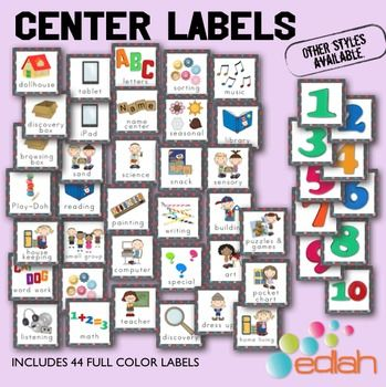 Center labels for my preschool class. These ones are gray with poke a dots but there are several other colors available from edlah.com
