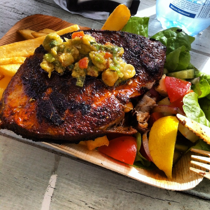 My lunch @ http://swampdog.com.au/  Cajun Mackerel Chips + Salad