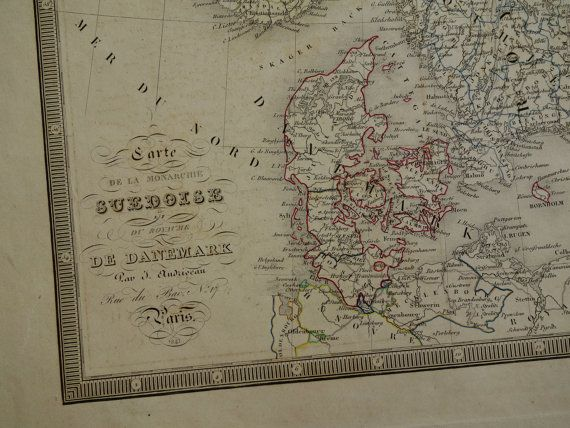 NORWAY map LARGE old map of Sweden Norway by DecorativePrints