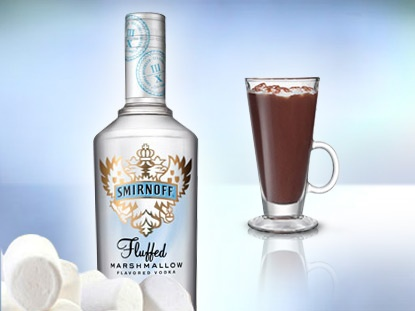 1.1 oz. Smirnoff Fluffed Marshmallow Flavored Vodka (25 oz. per bottle)  2.10 oz. hot water  3.1 Hot Cocoa Mix