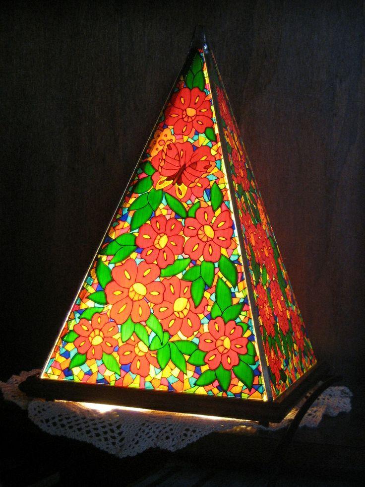 lampada dipinta a mano su vetro by elle