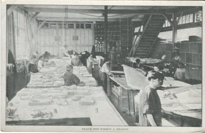 Jacques Duval Manufacture de Passementeries Postcard - Tracé des Tissus a Broder