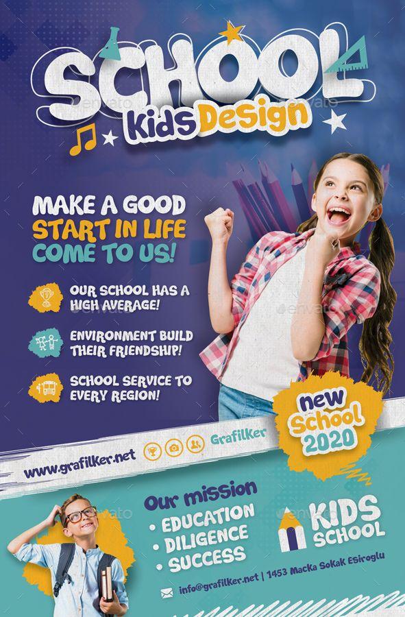 Kids School Poster Templates Preview Graphicriver Brosur Desain Brosur Desain Pamflet