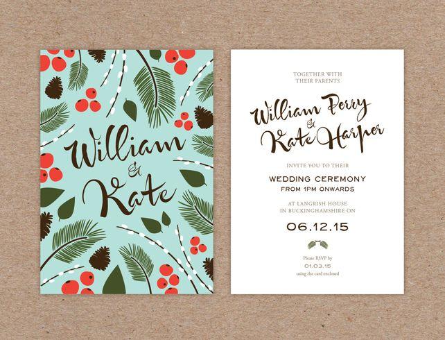 Wedding Invitation Sample - Winter Botanicals £2.00
