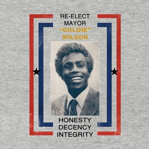 """Back to the Future -   """"Re-elect Mayor Goldie Wilson""""  Election campaign shirt, in store now.   #BacktotheFuture, #Mayor, #tee, #shirt, #slogan, #campaign, #election, #goldie, #wilson, #movie, #film,"""