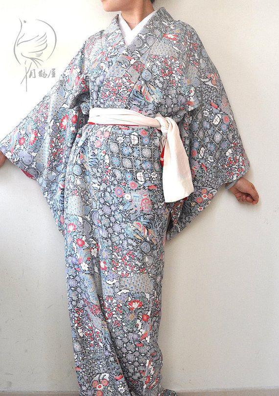 ecf254683 Japanese silk long kimono robe. Vintage authentic women's floral komon maxi  kimono gown. Duster coat. Wrap dress. Boho loungewear.