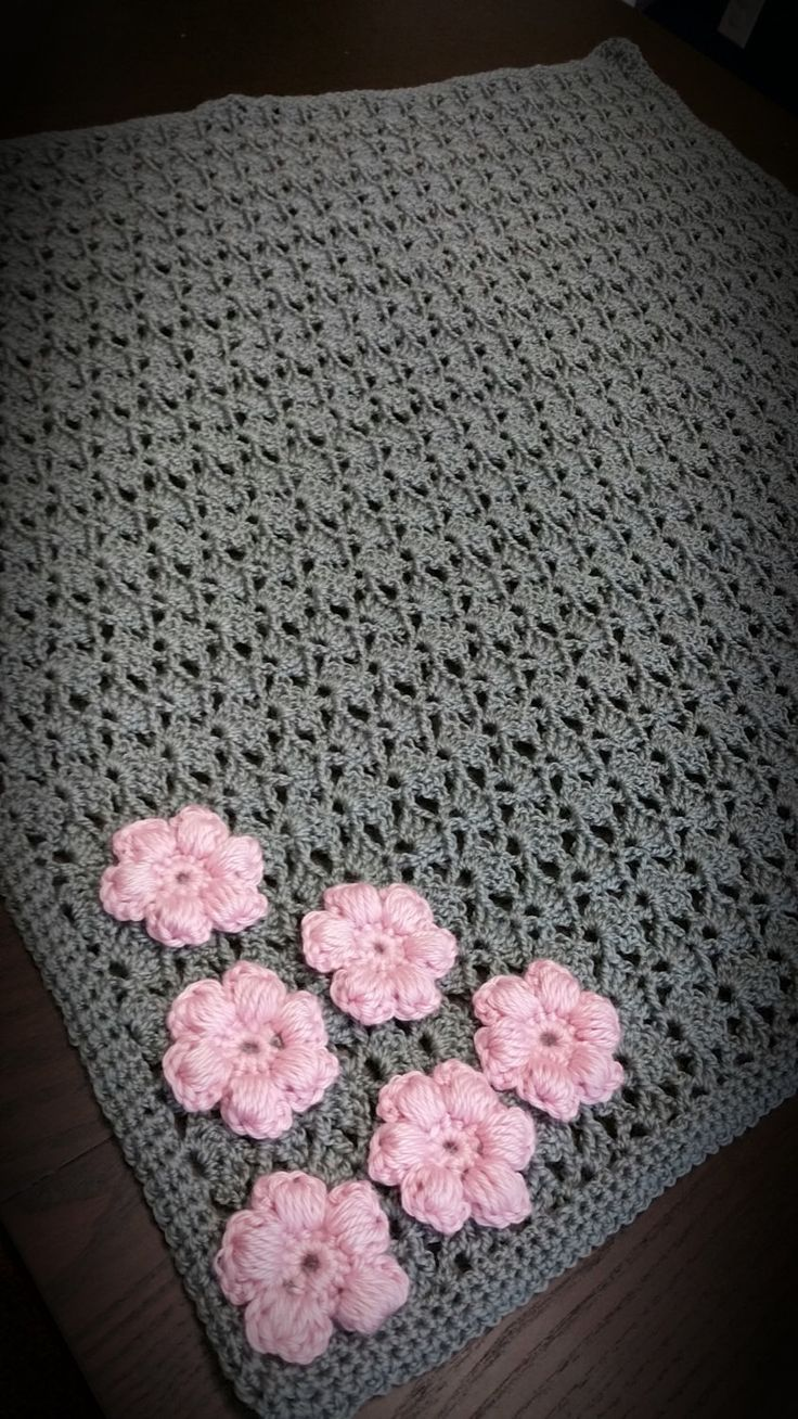 Beautiful Handmade Crochet Baby Girl Gray Blanket with Pink Flower Applique by CrazyBeautifulCrafts on Etsy https://www.etsy.com/listing/245444213/beautiful-handmade-crochet-baby-girl