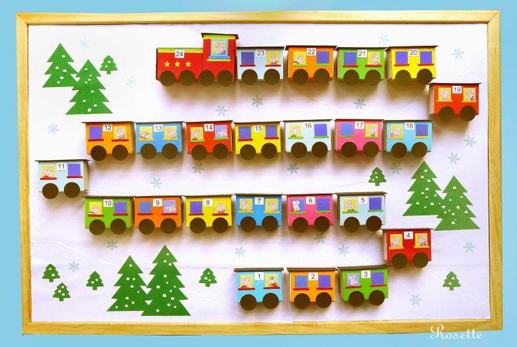 Vánoční cestování Myšky Marušky... - adv.kalendář Vánoční cestování Myšky Marušky a jejích kamarádů.... Velká nástěnka - adventní kalendář s vláčkem, ve kterém cestuje Maruška a plno jejích kamarádů a kamarádek z mateřské školky. Vagonky vláčku - to je 24 (+1) barevně polepených krabiček od zápalek s čísly. Okénka jsou zalaminované obrázky. ...