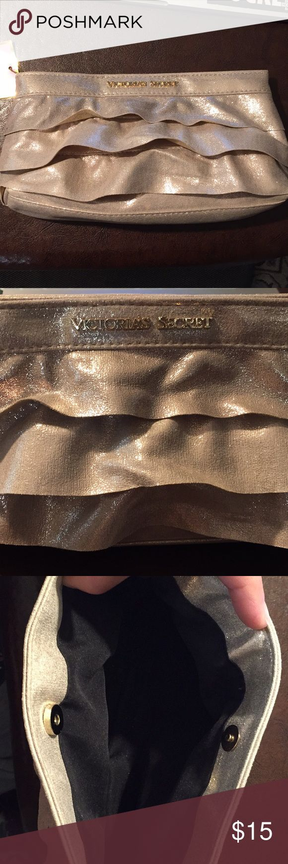 Victoria's Secret clutch bag Sparkly beige clutch purse with magnetic clasp. New and unused. Victoria's Secret Bags Clutches & Wristlets
