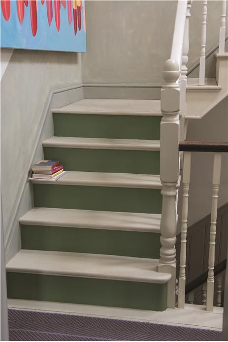 Stairs and steps in Off-White Floor Paint and Calke Green Floor Paint.  An inspirational image from Farrow and Ball