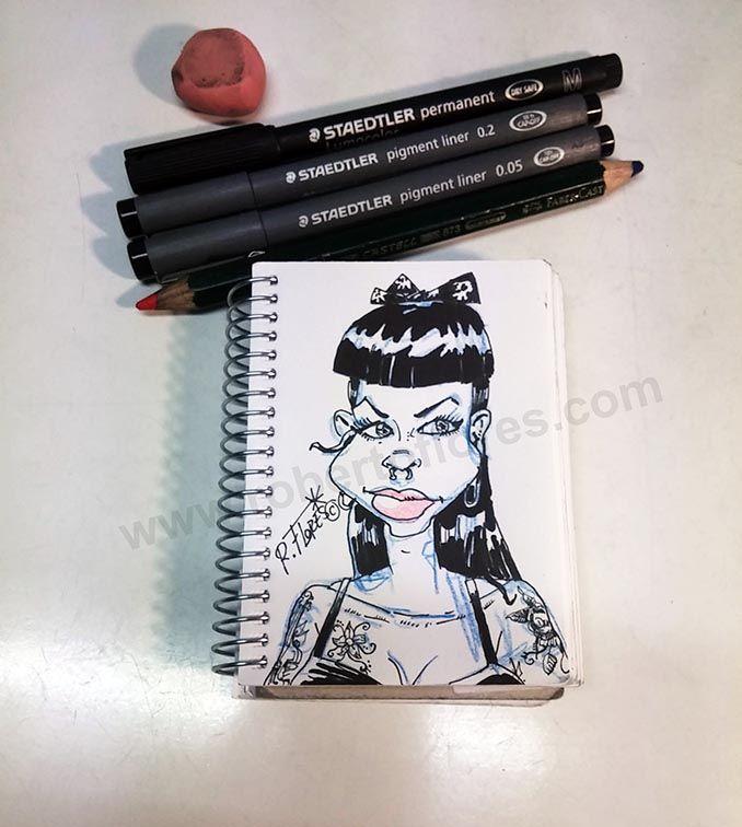 Just for fun! Quick #psychobilly #rockabilly #inkedgirl #cartoon #doodle.