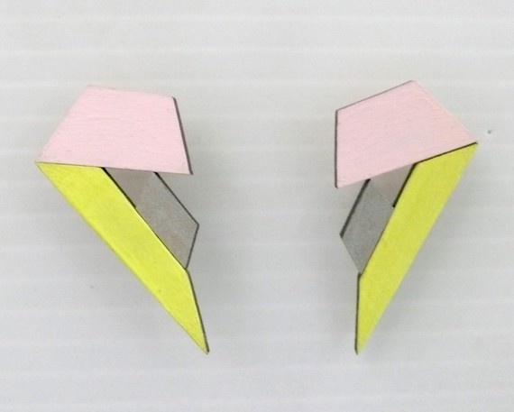 futuristic tanegram earrings / hash & chez