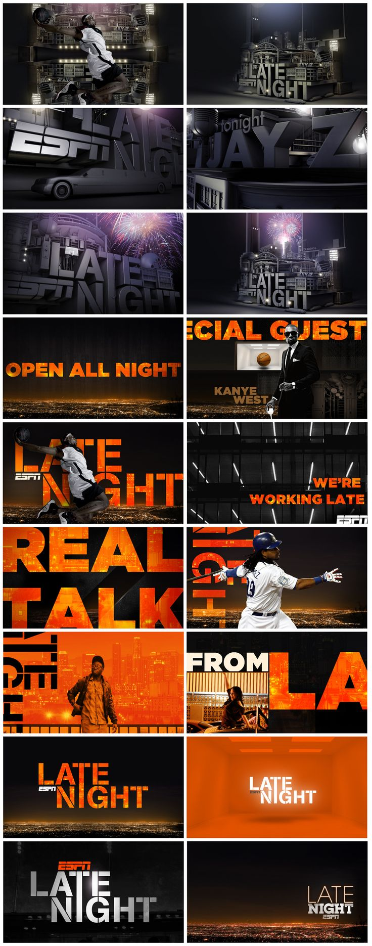 motion graphics/ storyboards/ styleframes | ESPN Late Night by Nate Howe