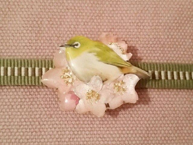 再9:花鳥帯留め 桜花とメジロ