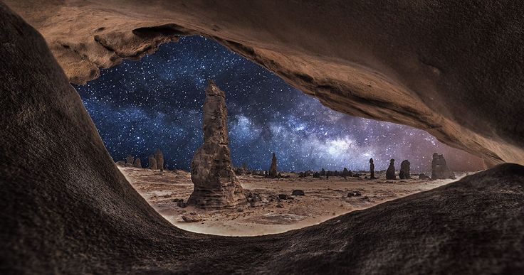 This starry night seen through a cave mouth looks like an eye. By Meshari Aldulaimi. From Starry Night Sky on BoredPanda.