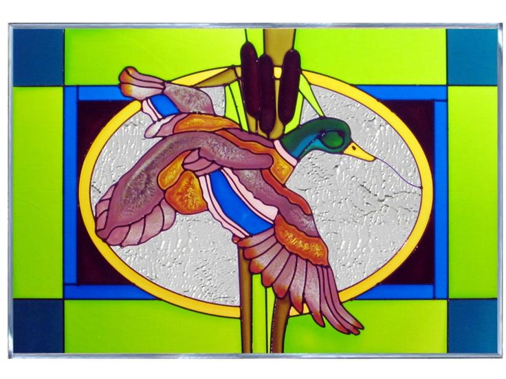 Mallard Duck Stained Glass Art A best seller! This classic Mallard duck panel will add a serene touch to your window -- whether at home or at the cabin. This horizontal V-size art glass panel is zinc-