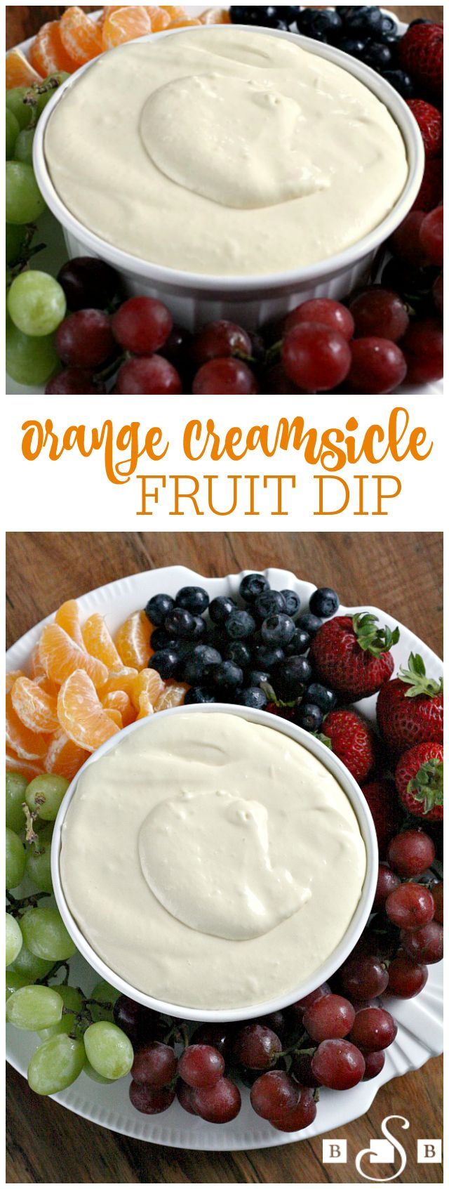 Orange Creamsicle Fruit Dip - Butter With a Side of Bread-- a super simple recipe with just 3 ingredients! Everyone goes crazy over this sweet fruit dip- perfect for any get together.