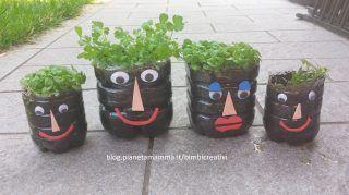 La famiglia ...in giardino. Come riciclare le bottiglie di acqua