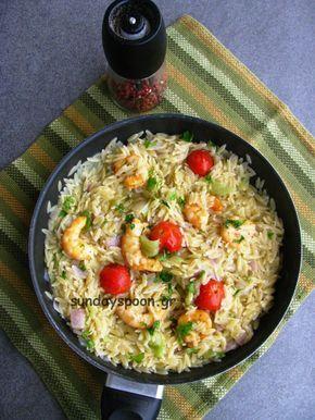 Κριθαρότο με γαρίδες και λαχανικά
