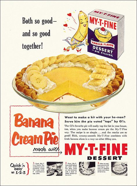 A super cute vintage pudding ad from the 1950s, complete with love struck banana :)