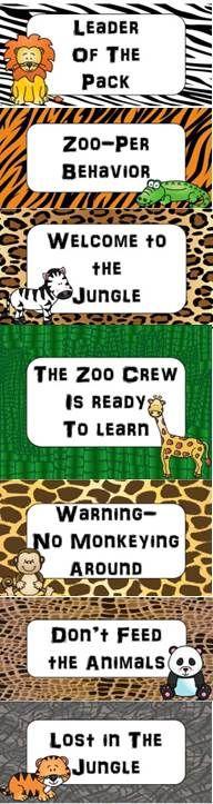 Zoo Animals Themed Behavior Management Clip Chart {Jungle Safari}