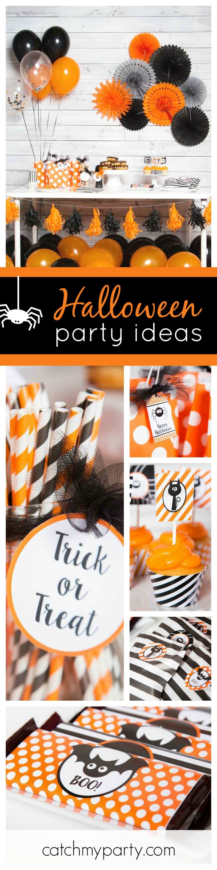 Check out this fun and simple Not Scary Halloween Party! The orange & black decorations are awesome! See more party ideas and share yours at CatchMyParty.com