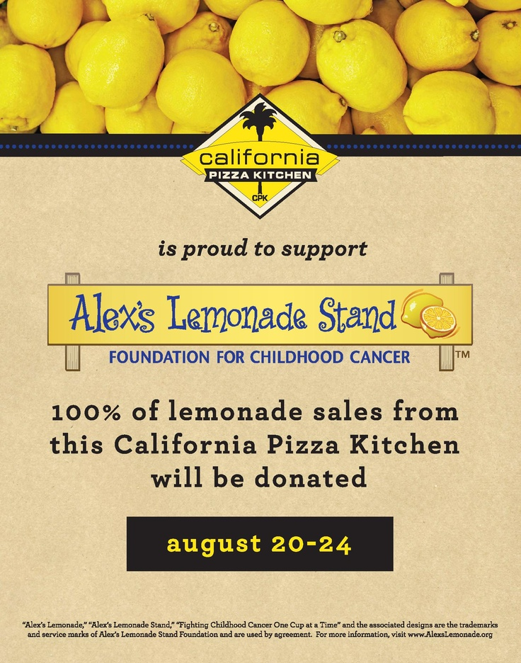 @California Pizza Kitchen Restaurants Will Be Donating 100% Of Lemonade  Sales