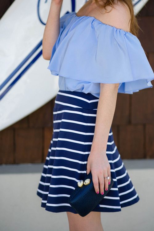 OUTFIT: J.MCLAUGHLIN STRIPED SKIRT - Design Darling