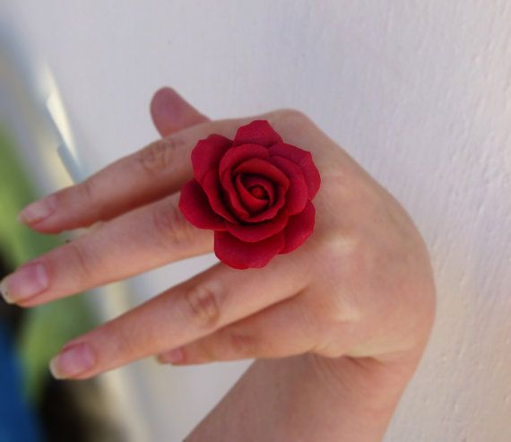 Rose ring Aurora red ring Large  ring Jewelry rose Flower ring Red jewelry Gift for women Cute ring Handmade rose Large rose ring